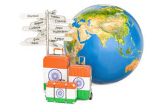 India travel concept. Suitcases with Indian flag, signpost and E Royalty Free Stock Images