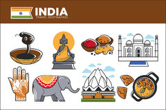 India travel destination promotional poster with country symbols Stock Photography