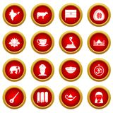 India travel icon red circle set. Isolated on white background royalty free illustration