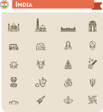 India travel icon set Royalty Free Stock Images
