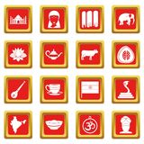 India travel icons set red. India travel icons set in red color isolated vector illustration for web and any design royalty free illustration