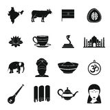 India travel icons set, simple style Royalty Free Stock Photos