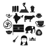 India travel icons set, simple style. India travel icons set. Simple illustration of 16 India travel vector icons for web Stock Images