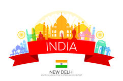 India Travel Landmarks and Flag. Royalty Free Stock Images