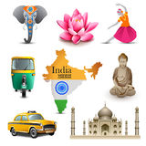 India travel set icons, vector Royalty Free Stock Photo