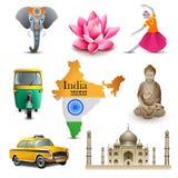 India travel set icons, vector Royalty Free Stock Photo