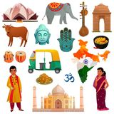 India Travel Set. Various symbols sights and national costumes of india travel set isolated on white background cartoon vector illustration vector illustration