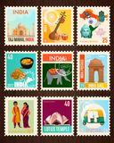 India Travel Stamp Cards. Colorful travel stamp cards set with traditional symbols and famous sights of india isolated on black background cartoon vector stock illustration