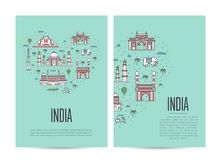 India travel tour booklet set in linear style Stock Photo