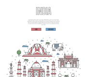 India travel tour poster in linear style royalty free illustration