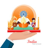 India Travelling Banner. Indian Landmarks on hand Royalty Free Stock Photos