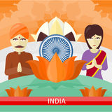 India Travelling Banner. Indian Landmarks. India travelling banner. Landscape with traditional Indian landmarks. Nature and architecture. Lotus Temple Royalty Free Stock Photo