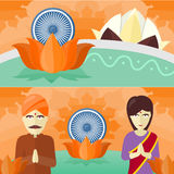 India Travelling Banner. Indian Landmarks. Stock Photos