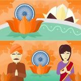 India Travelling Banner. Indian Landmarks. India travelling banner. Time to travel. Landscape with traditional Indian landmarks. Nature and architecture. Lotus Stock Photos