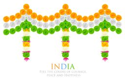 India Tricolor Flower Decoration Royalty Free Stock Image