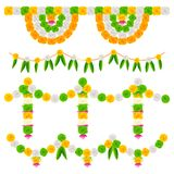 India Tricolor Flower Decoration Stock Photo