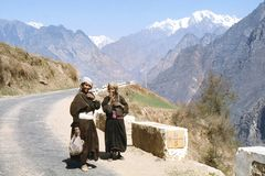 1977. India. Himalaya. Two charming and a little shy ladies. The photo shows, two local women in their homemade woven wollen Stock Photography