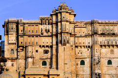 India; udaipur; city palace. The city palace sheltes the pratap museum; a fantastic ancient red stone architecture for this famous palace Royalty Free Stock Images