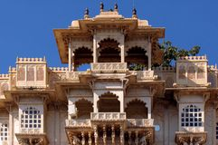 India, Udaipur: city palace. India; udaipur; city palace; the city palace sheltes the pratap museum; a fantastic ancient red stone architecture for this famous Stock Photography