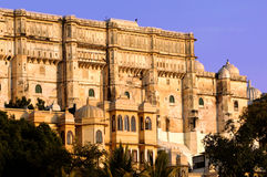 India, Udaipur: city palace. India; udaipur; city palace; the city palace sheltes the pratap museum; a fantastic ancient red stone architecture for this famous Royalty Free Stock Photo