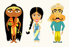 India ustawia dziewczyny, mężczyzna i joga wektoru ilustraci, Obrazy Royalty Free