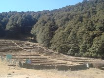 India Uttarakhand Himalayan mountain archaeological excavation site view stock photo