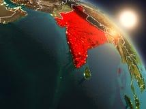 India van ruimte tijdens zonsopgang Royalty-vrije Stock Afbeeldingen