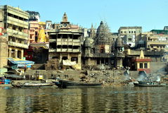 India.Varanasi.Ganges.Ghat Manikarnika.  Royalty Free Stock Image