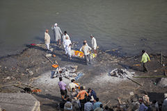 India, Varanasi - November 2009: funeral ceremony of cremation on the banks of the Ganges River Royalty Free Stock Image