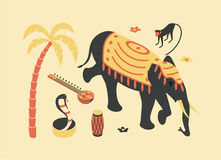 India, vector flat isometric illustration, 3d icon set: palm tree, sitar, monkey, elephant, lotus flower, snake cobra. Drum beach royalty free illustration