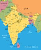 India vector map. With mayor cities Royalty Free Stock Images