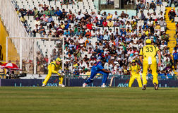 India versus Australia cricket. Ravichandran Ashwin plays a shot. In the One Day international cricket match played at Chandigarh, Mohali between India and Royalty Free Stock Photos