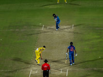 India versus Australia cricket. Rohit Sharma plays a shot. He was man of the match in the One Day international cricket match played at Jaipur between India and stock photo