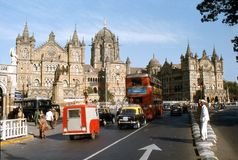 1977. India. Victoria terminus, Bombay. royalty free stock photos