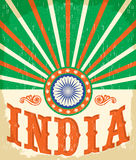 India vintage card - poster vector illustration Royalty Free Stock Photo