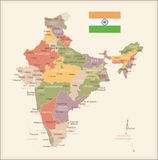 India - vintage map and flag - illustration Stock Photo