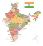 India - vintage map and flag - illustration Royalty Free Stock Images