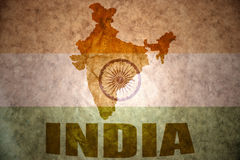 India vintage map. India map on a vintage indian flag background royalty free stock images