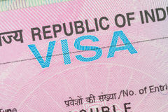 India visa in a passport royalty free stock photography