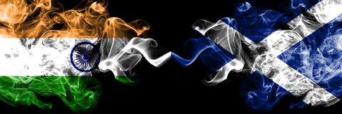 India vs Scotland, Scottish smoke flags placed side by side. Thick colored silky smoke flags of Indian and Scotland, Scottish vector illustration