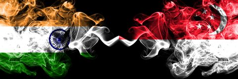 India vs Singapore, Singaporean smoke flags placed side by side. Thick colored silky smoke flags of Indian and Singapore,. Singaporean royalty free illustration
