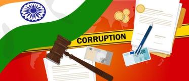India walk korupci pieniądze łapówkarstwa pieniężnego prawa kontrakta milicyjna linia dla skrzynka skandalu urzędnika państwowego Zdjęcie Royalty Free