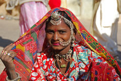 India. A woman posing on a street in Jaisalmer, India 07 Jan 2009 nNo model release availablenEditorial use only Royalty Free Stock Image