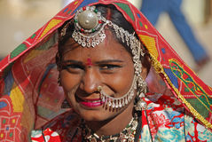 India. A woman posing on a street in Jaisalmer, India 07 Jan 2009 nNo model release availablenEditorial use only Royalty Free Stock Photo