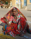 India. A woman posing on a street in Jaisalmer, India 07 Jan 2009 nNo model release availablenEditorial use only Stock Photography