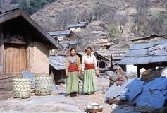 1977. India. 3 women in the village of Hurri. The photo shows, 2 of the 3 women wearing their local dresses, special to this specific area Stock Images