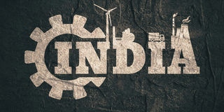 India word build in gear Royalty Free Stock Image