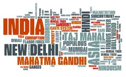 India word cloud. Illustration. Country word collage Royalty Free Stock Photos