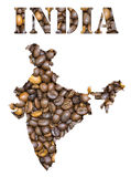 India word and country map shaped with coffee beans background. Roasted brown coffee beans background with the shape of the word India and the country stock photos