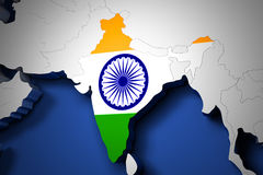 India on the world map 3d render Stock Photos